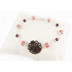 Bracelet Argent 925, Nacre, Quartz rouge et Grenat