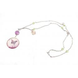 Sautoir Acier Inoxydable Papillon Cristal Swarovski et Perles de verre