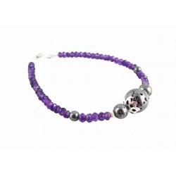 Bracelet Argent 925, Améthyste et Galaxite
