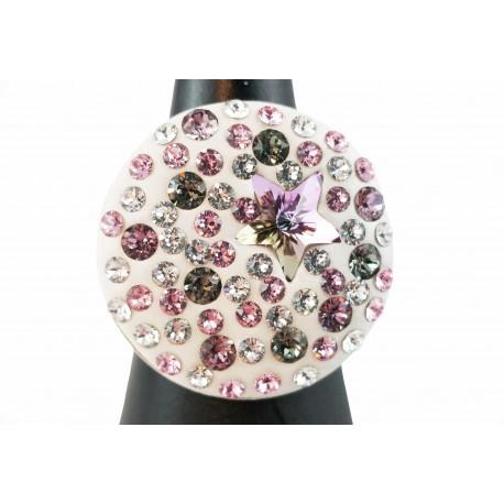 Bague Argent 925 et Cristal de Swarovski Etoile Rose