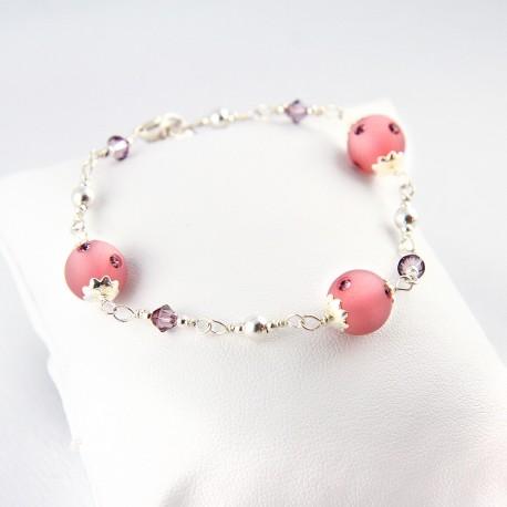 Bracelet Wire Wrapping Argent 925 et Cristal de Swarovski Rose