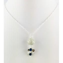 Collier Chaine Argent 925, Perle filigrane 999 Unique, Lapis-Lazuli, Cristal de Roche et Quartz fumé