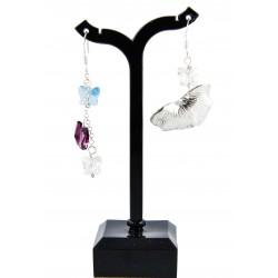 Boucles d'oreille Argent 999 Papillon Cristal de Swarovski et Feuille de Ginkgo