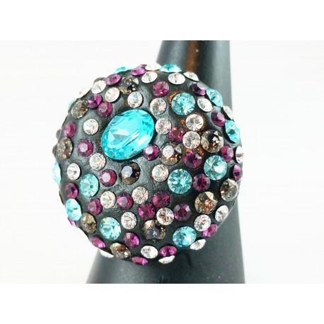 Bague Argent 925 et Cristal de Swarovski Turquoise et Violet