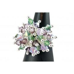 Bague Argent 925 et Grappe Cristal de Swarovski Vert et Violet