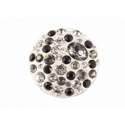 Bague Argent 925 et Cristal de Swarovski Gris et Noir