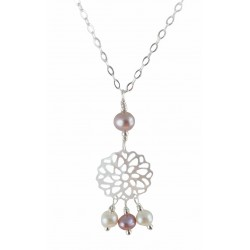 Collier Wire Wrapping Argent 925, Nacre blanc et Perles de Culture roses