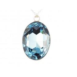 Pendentif Argent et Cristal de Swarovski Aquamarine