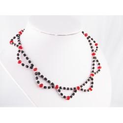 Collier Argent 925 et Perles de verre noires et rouges