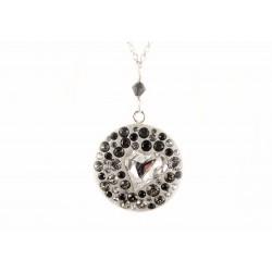 Collier Argent 925 Cristal de Swarovski Gris et Noir Coeur Cristal