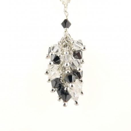 Collier Argent 925 Grappe Cristal de Swarovski Gris et Cristal