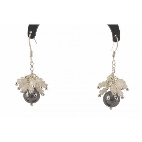 Boucles d'oreille Argent 925 Grappe Galaxite et Pierre de Lune