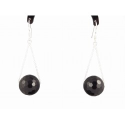 Boucles d'oreille Argent 925 et Agates noires