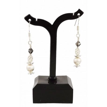 Boucles d'oreille Argent 925 et Cristal de Swarovski Gris