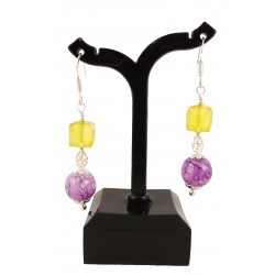 Boucles d'oreille Argent 925 Cristal de Swarovski Jaune et Perles de verre Violette