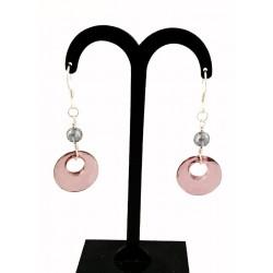 Boucles d'oreille Argent 925, Cristal de Swarovski et Perles de verre Rose et Gris