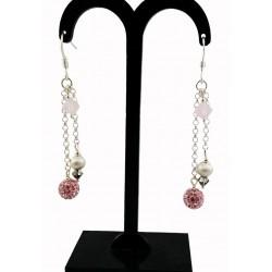 Boucles d'oreille Argent 925, Chaîne, Cristal de Swarovski et Strass Rose