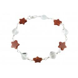 Bracelet Wire Wrapping Argent 925, Cristal de Roche et Pierre du Soleil Etoile