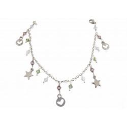 Bracelet Acier Inoxydable Coeur et Etoile Cristal Swarovski Violet et Vert