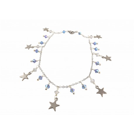 Chaîne de Cheville Acier Inoxydable Etoile Cristal de Swarovski Bleu