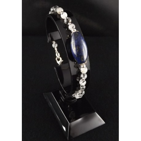 Bracelet Argent 925, Quartz rutile et Lapis-Lazuli