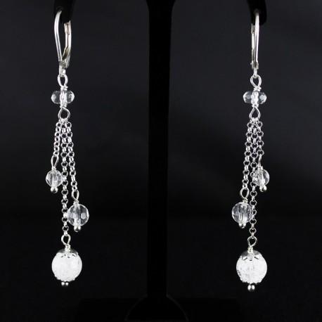 Boucles d'oreille Argent 925 et Cristal de Roche
