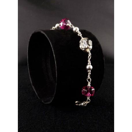 Bracelet Argent 925 Cristal de Swarovski Gris et Fuchsia