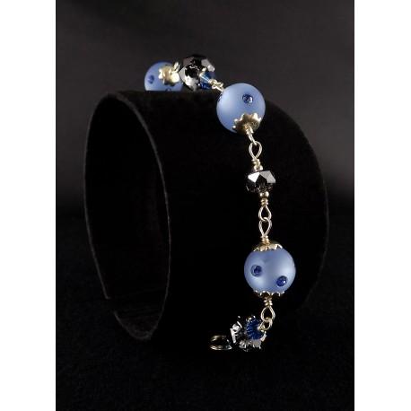 Bracelet Argent 925, Cristal de Swarovski Gris et Bleu
