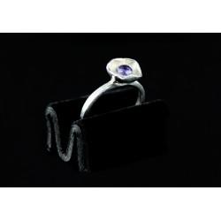 Bague Fleur Argent 999 sertie Zircon Violet