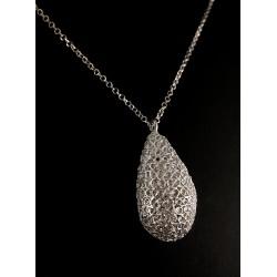 Goutte Filigrane Argent 999 sur Chaîne diamanté Argent 925