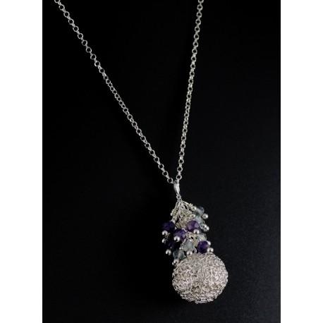 Collier Perle Filigrane Argent 999 et Grappe Améthyste, Cristal Vert/Gris des Indes
