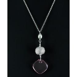 Collier Perle Filigrane Argent 999 et Cristal de Swarovski Rose
