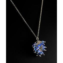 Collier Argent 925 et Grappe Cristal de Swarovski Bleu