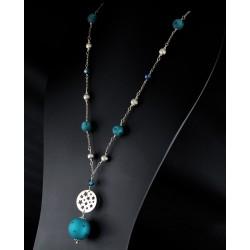 Sautoir Etoile Argent 925 et Cristal de Swarovski Turquoise