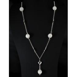 Collier Argent 925 Coeur Cristal de Swarovski Gris
