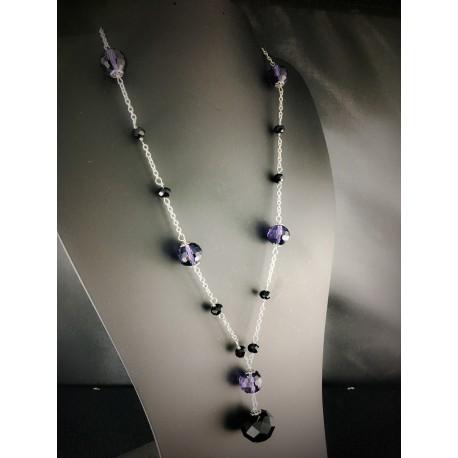 Collier Acier Inoxydable et Perles de verre Noires et Violettes