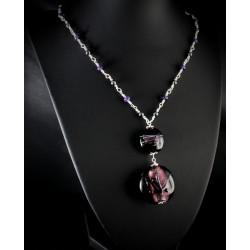 Collier Argent 925 Améthyste, Hématite et Perles de verre Violettes