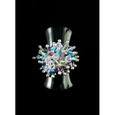 Bague Argent 925 Grappe Cristal de Swarovski Violet et Turquoise
