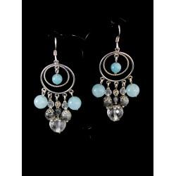 Boucles d'oreille Argent 925, Agate bleue, Quartz rutile et Cristal de Roche