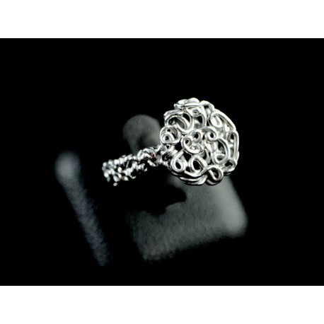 Bague Argent 999 anneau filigrane et rosace