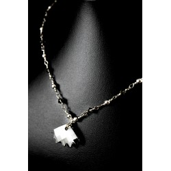 Collier Argent 925 Wire Wrapping Cristal de Swarovski Feuille Grise