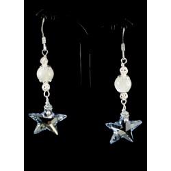Boucles d'oreille Argent 925, Pierre de Lune et Etoile en Cristal de Swarovski bleu