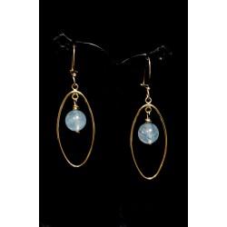 Boucles d'oreille Gold Filled G.Ovale et Quartz Rutile Bleu