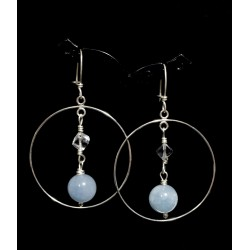 Boucles d'oreille Créoles avec Cristal de Roche et Agates bleues