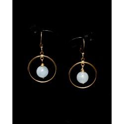 Boucles d'oreille Gold Filled Créoles avec Agates bleues