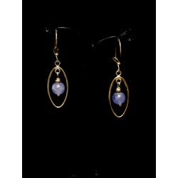 Boucles d'oreille Gold Filled Ovales avec Tanzanites