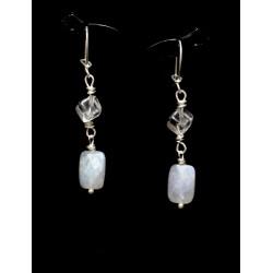 Boucles d'oreille Argent 925, Cristal de Roche et Labradorite