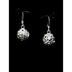 Boucles d'oreile Argent 999 Perles filigranes