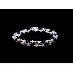 Bracelet 3 rangs Argent 925 tons violet, rose et blanc