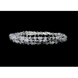 Bracelet 3 rangs Argent 925 tons blanc et cristal